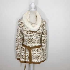 LOFT tan knit cowl neck belted tunic sweater